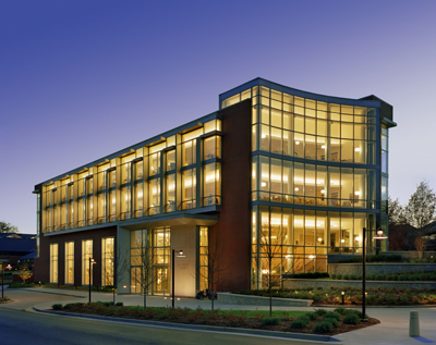 Photograph of Emerson Library taken at dusk