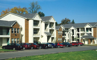 Color photograph of Webster villiage apartment buildings
