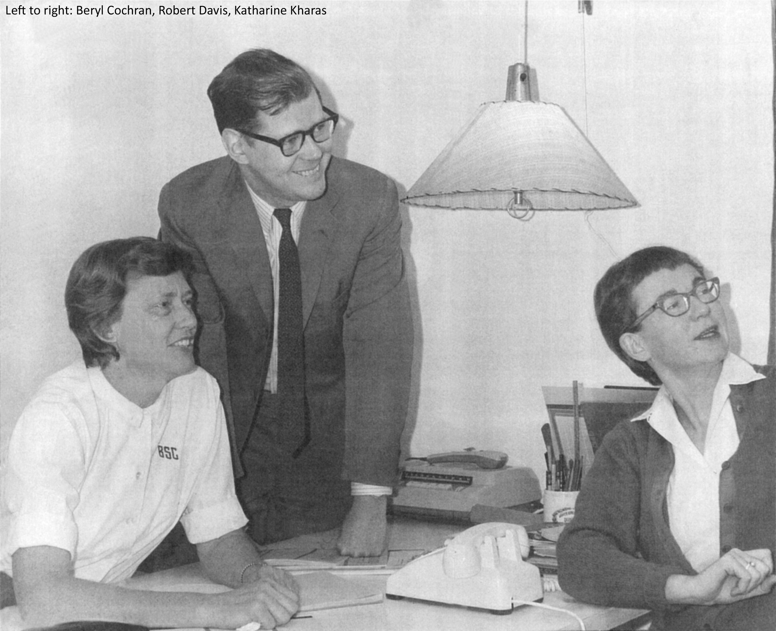 Balck and white photograph of Beryl Cochran, Robert Davis, and Katharine Kharas