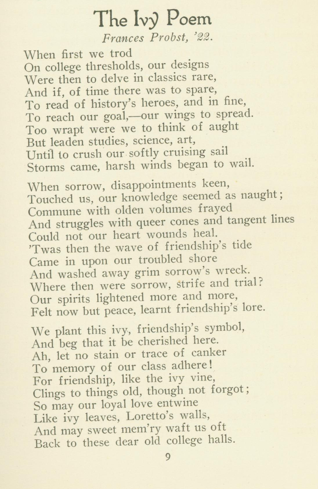 Image of written 1922 poem by Frances Probst