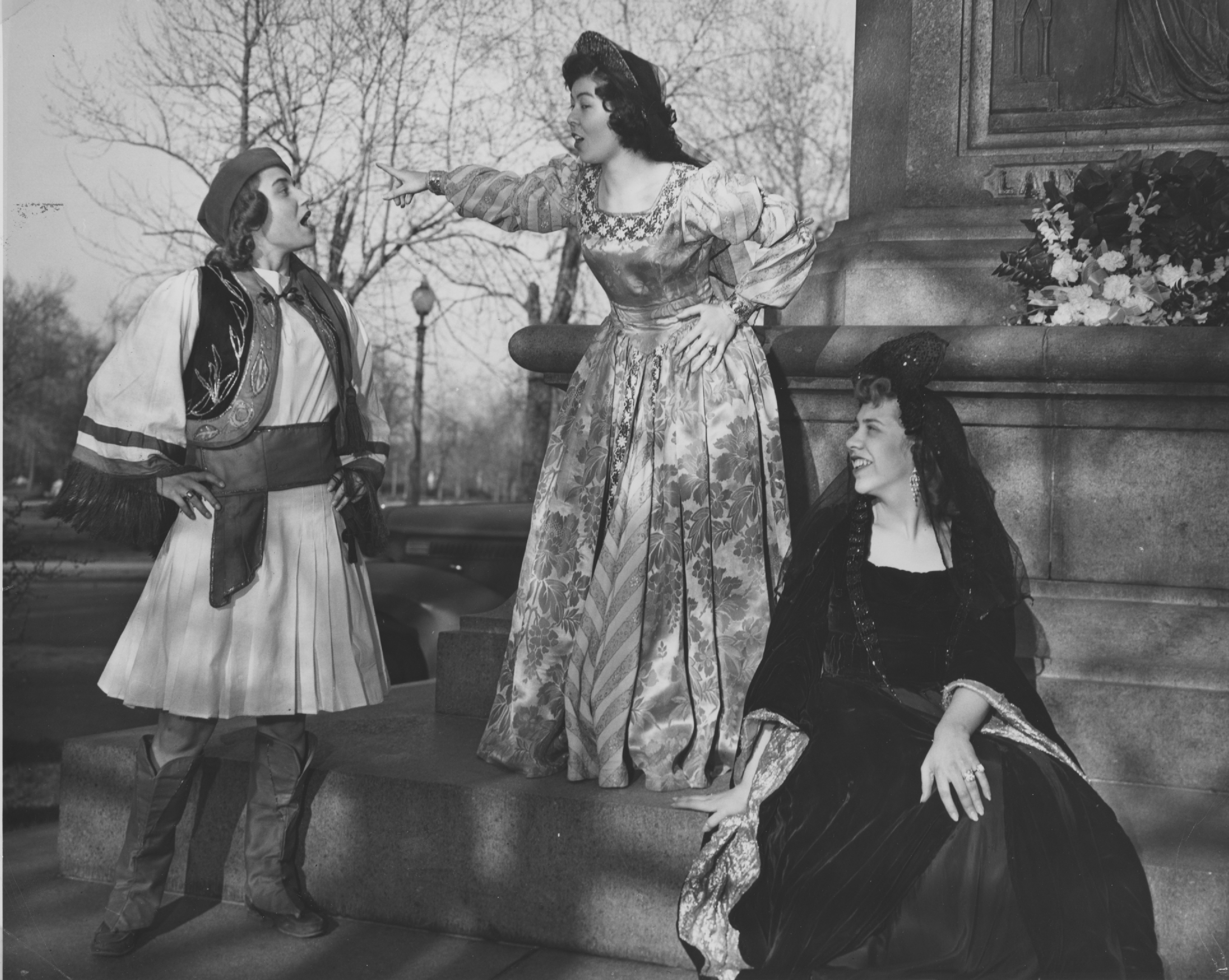 Black and white photograph of Twelfth Night play