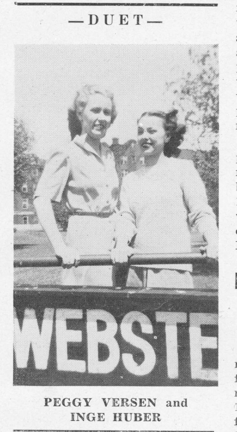 Black and white photo of two women, Versen and Huber