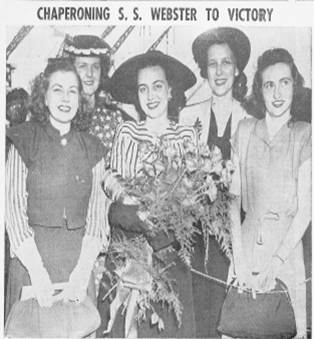 Black and white photo of Victory Ship Launch, 5 women