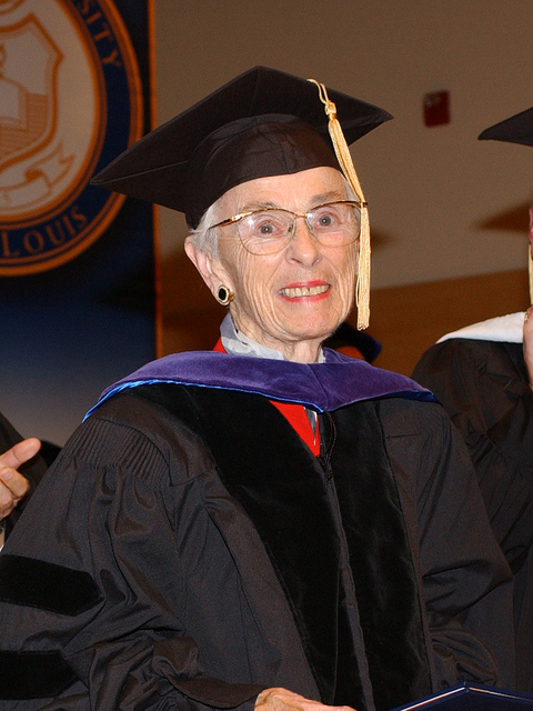 Color photo of Jacqueline Grennan Wexler, doctorate regalia