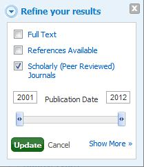 Check box for scholarly journals